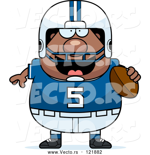 Vector of Cartoon Chubby Black Football Player