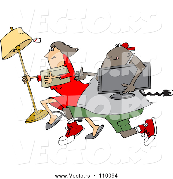 Vector of Cartoon Chubby Black Juvenile Deliquent Guy and White Lady Looting and Running with Stolen Items