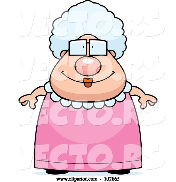 Vector of Cartoon Chubby Granny in a Pink Dress