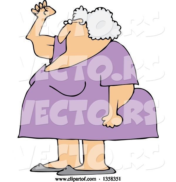 Vector of Cartoon Chubby Senior White Lady Holding up a Fist, with Her Arms Sagging