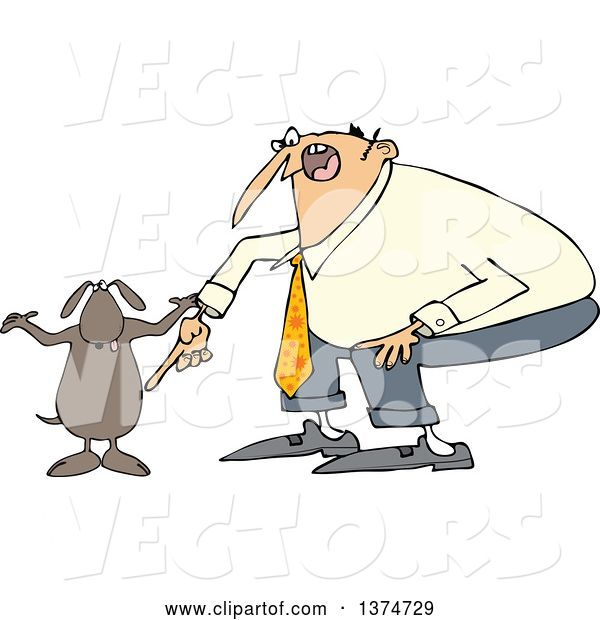 Vector of Cartoon Chubby White Guy Yelling at His Careless Dog