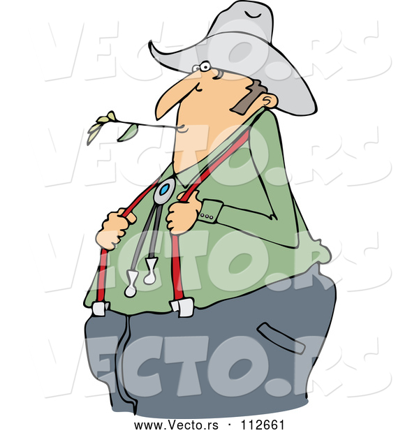 Vector of Cartoon Chubby White Male Farmer Holding His Suspenders and Chewing on Straw