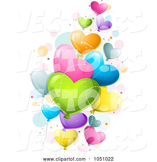 Vector of Cartoon Colorful Heart Valentine Balloons