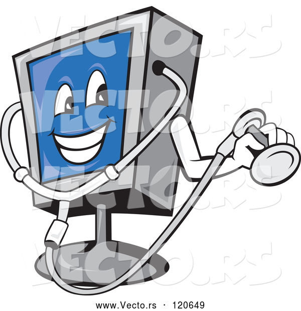 Vector of Cartoon Computer Monitor Mascot Holding a Diagnostics Stethoscope