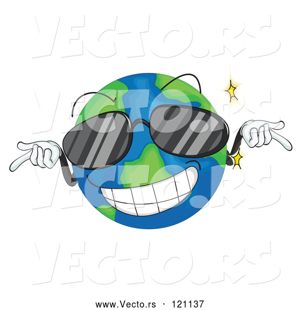 Vector of Cartoon Cool Globe Mascot Wearing Sunglasses