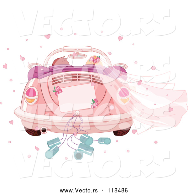 Vector of Cartoon Couple Driving Away in a Pink VW Slug Bug Wedding Car