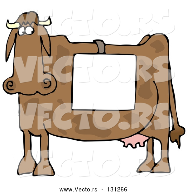 Vector of Cartoon Cow Standing in Profile, Wearing a Blank White Sign over Its Back