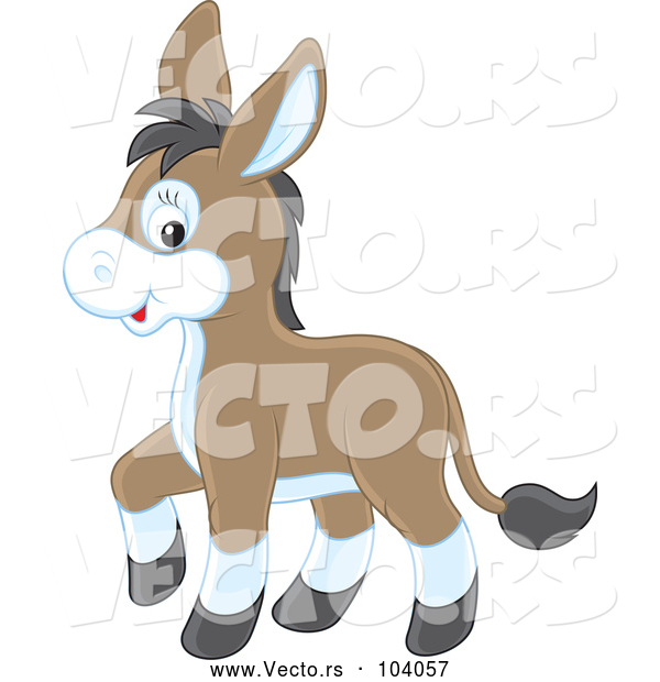 Vector of Cartoon Cute Baby Donkey