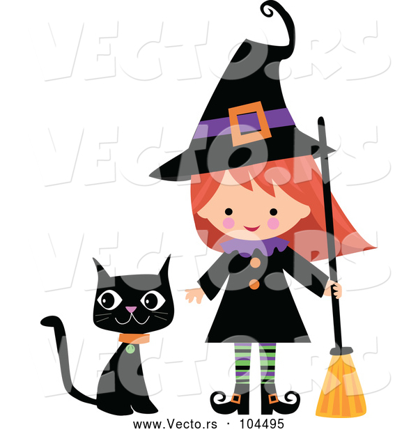 Vector of Cartoon Cute Halloween Witch with a Broom and Black Cat