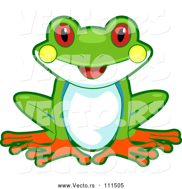 Vector of Cartoon Cute Happy Tree Frog Sitting