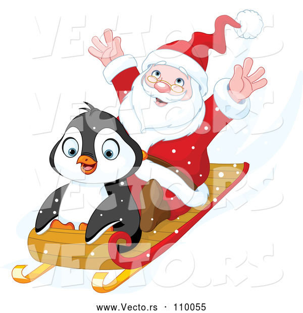 Vector of Cartoon Cute Penguin and Santa Going Downhill on a Sled