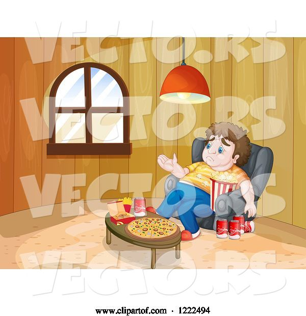 Vector of Cartoon Depressed Gluttonous Guy Surrounded by Food