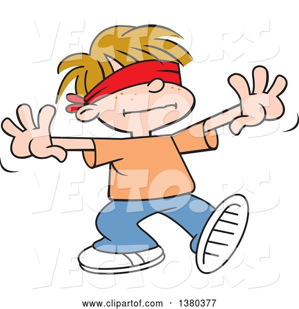 Vector of Cartoon Dirty Blond White Boy Playing Blind Mans Buff