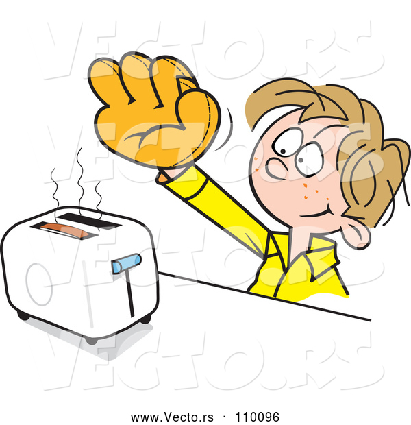 Vector of Cartoon Dirty Blond White Boy Wearing a Baseball Glove to Catch Toast from a Toaster
