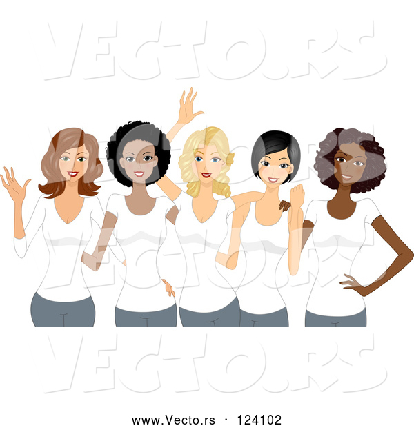 Vector of Cartoon Diverse Ladies Wearing White T Shirts on International Womens Day