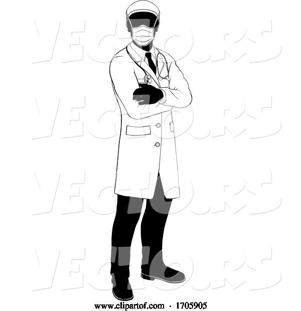 Vector of Cartoon Doctor Silhouette Healthcare in Medical PPE Mask