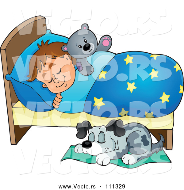 Vector of Cartoon Dog Sleeping by a Brunette White Boy in Bed with a Teddy Bear