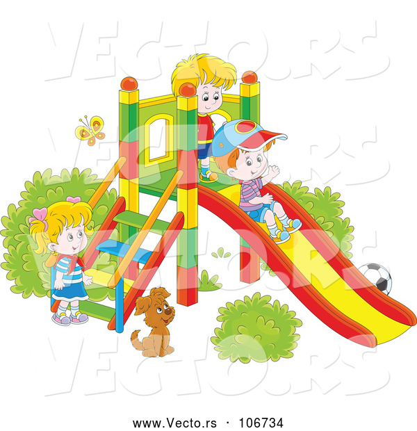 Vector of Cartoon Dog Watching KChildren Play on a Slide on a Playground