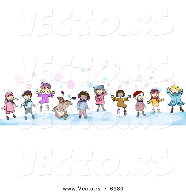 Vector of Cartoon Doodled Kids Playing in the Snow