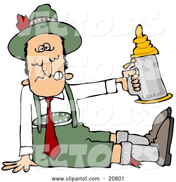 Vector of Cartoon Drunk Guy at Oktoberfest, Seated on the Ground and Holding up a Beer Stein