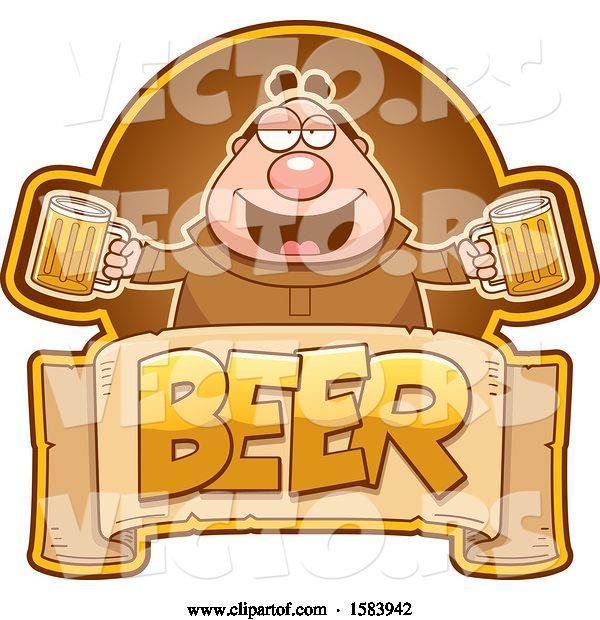 Vector of Cartoon Drunk Monk Holding Beer Mugs over a Text Banner