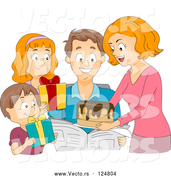 Vector of Cartoon Family Giving a Birthday Cake and Presents to a Guy