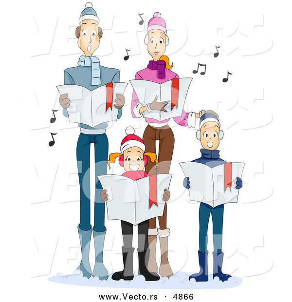 Vector of Cartoon Family Singing Christmas Carols Together