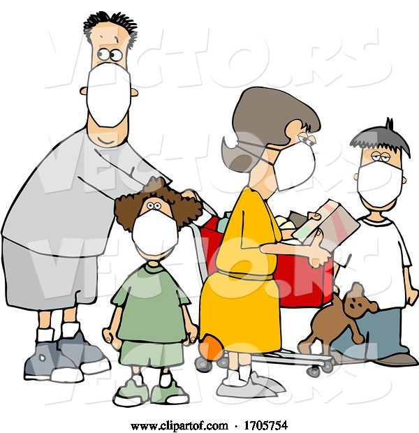 Vector of Cartoon Family Wearing Masks and Shopping During the Covid19 Pandemic