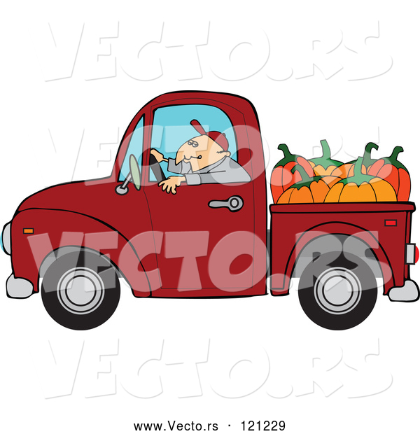 Vector of Cartoon Farmer Driving a Truck with Pumpkins in the Bed