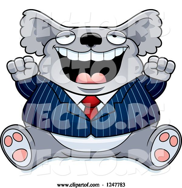 Vector of Cartoon Fat Business Koala Sitting and Cheering