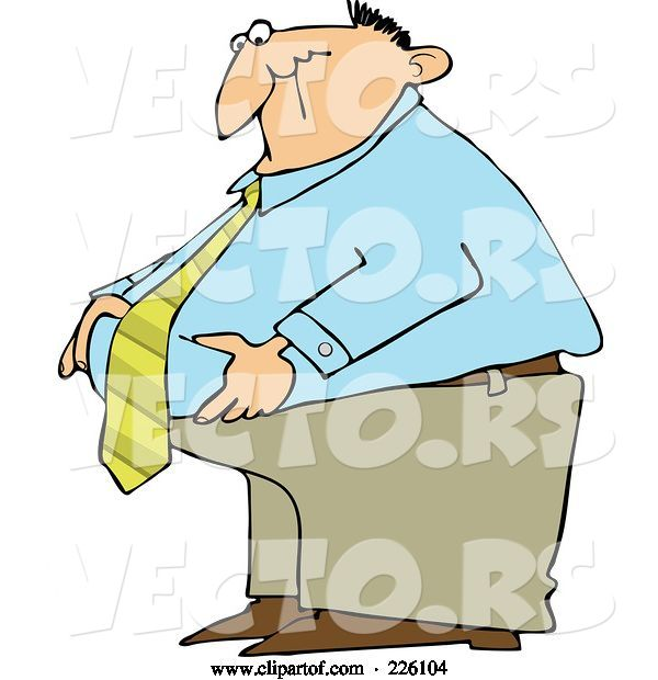 Vector of Cartoon Fat Business Man Standing and Grabbing His Belly Fat