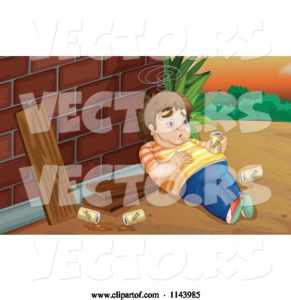 Vector of Cartoon Fat Drunk Guy by a Brick Wall