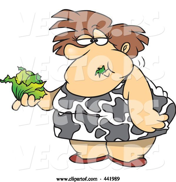 Vector of Cartoon Fat Lady Eating a Head of Lettuce
