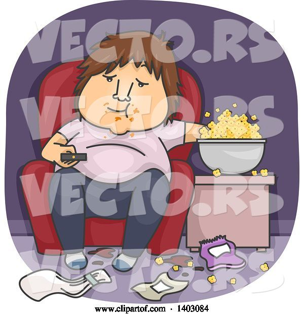 Vector of Cartoon Fat White Guy Eating Popcorn in a Messy Living Room and Watching Tv