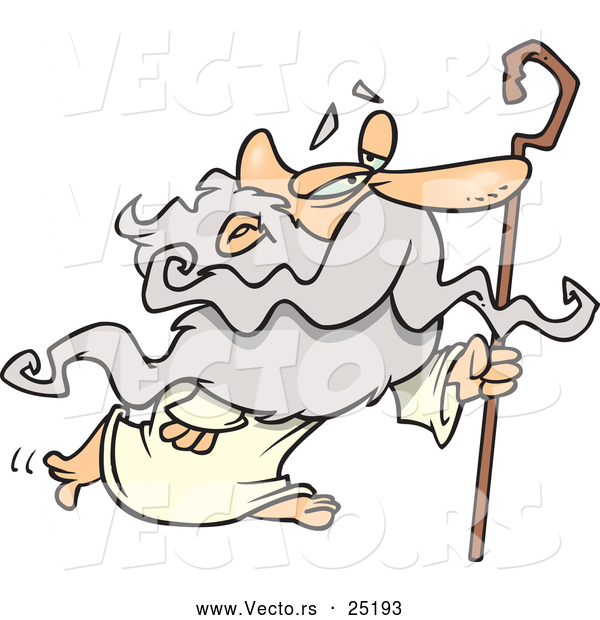 Vector of Cartoon Father Time Walking with Cane