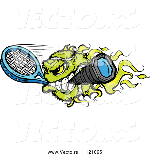 Vector of Cartoon Flaming Tennis Ball Mascot Biting a Racket