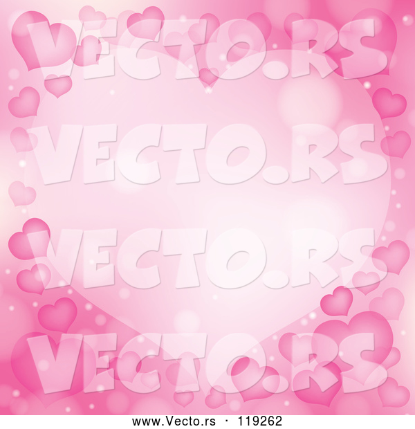 Vector of Cartoon Frame Made of Pink Hearts and Flares