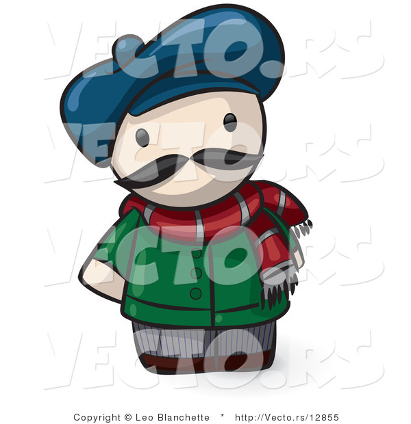 Vector of Cartoon French Guy Wearing Hat and Scarf