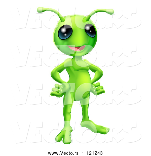 Vector of Cartoon Friendly Green Alien with Its Hands on Its Hips