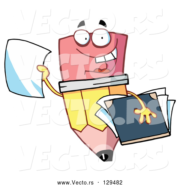 Vector of Cartoon Friendly Pencil Holding a Blank Piece of Paper and a Notebook