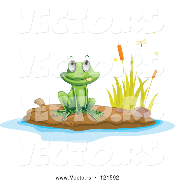 Vector of Cartoon Frog on a Pond Island 1