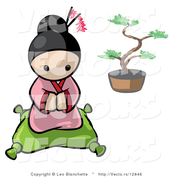 Vector of Cartoon Geisha Girl Kneeled on a Pillow with Bonsai Tree in Background