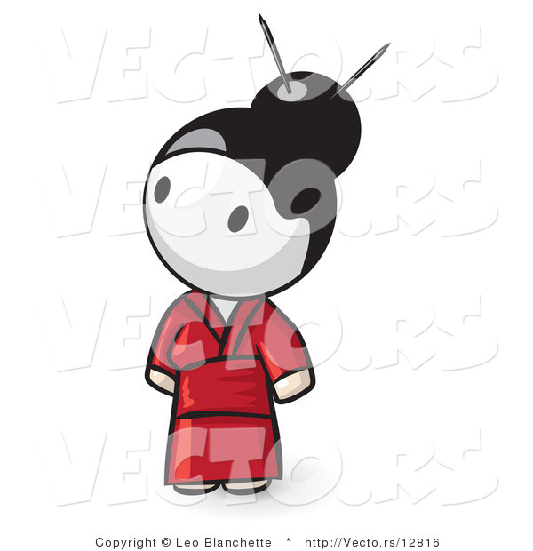 Vector of Cartoon Geisha Girl Looking up and to the Left