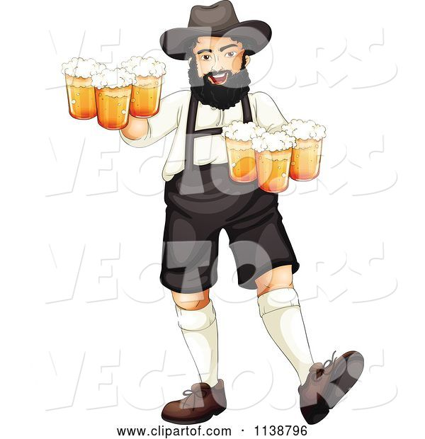 Vector of Cartoon German Oktoberfest Guy with Beer