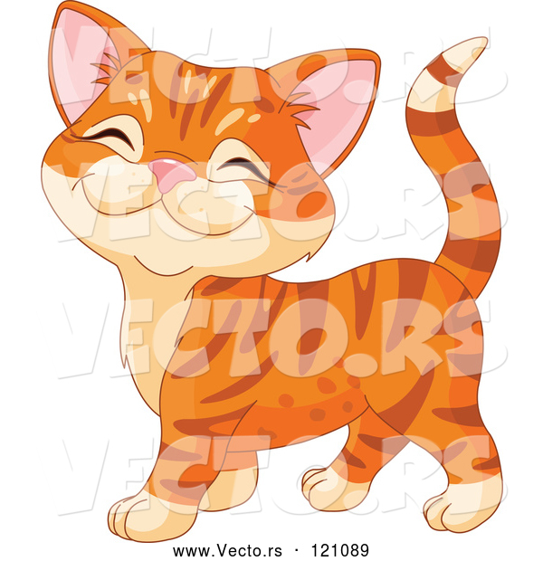 Vector of Cartoon Ginger Kitten Walking and Smiling