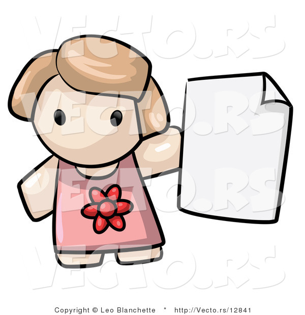 Vector of Cartoon Girl Holding Blank Paper