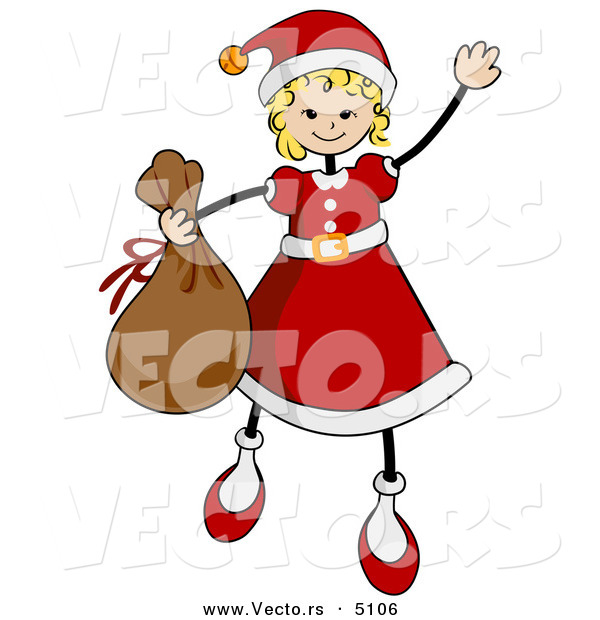 Vector of Cartoon Girl in a Santa Suit While Carrying a Sack of Gifts and Waving
