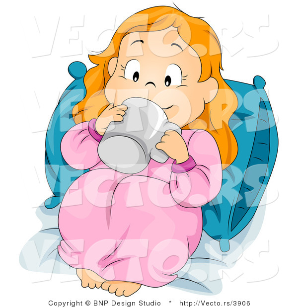 Vector of Cartoon Girl Sipping Beverage in Bed