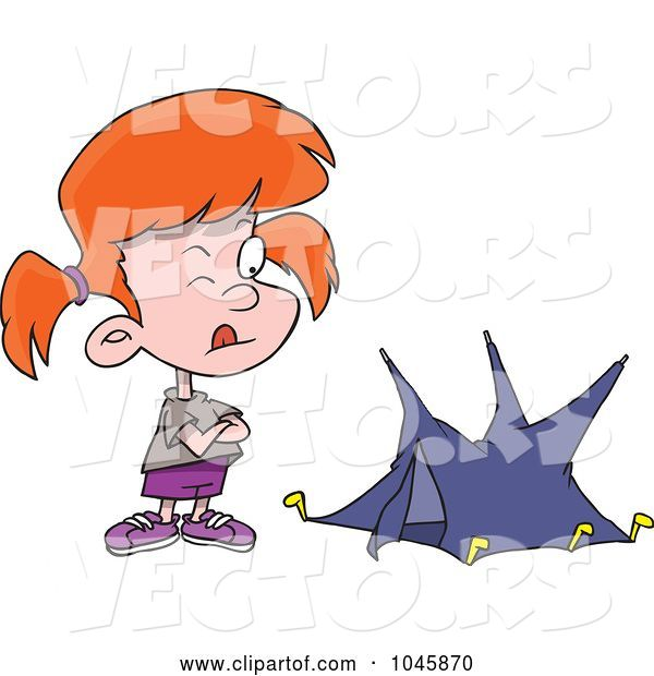 Vector of Cartoon Girl with a Tiny Tent