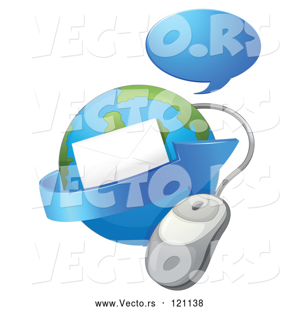 Vector of Cartoon Globe with Email an Arrow Computer Mouse and Chat Balloon